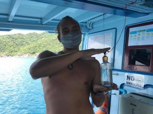 Hand Sanitizer on the Boats